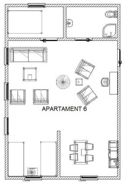 Rozkład apartamentu 6 w BioRezydencji